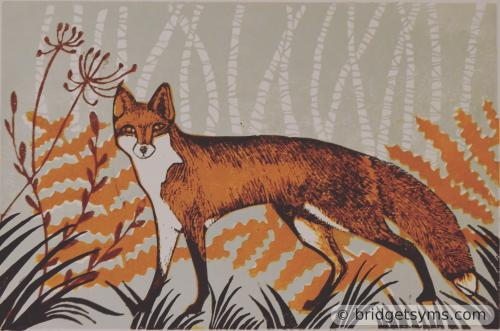 Editioned lino cut of Vixen in the Woods