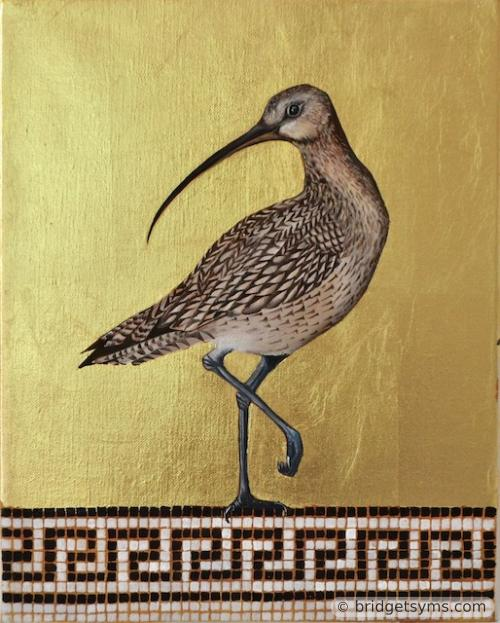 Curlew on gold ground
