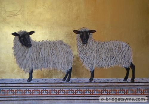 Wensleydale sheep on gold