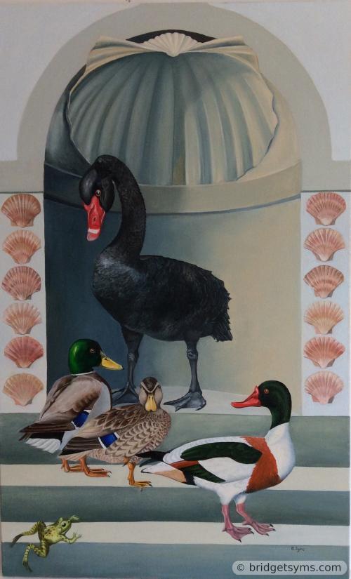 Black swan with mallards