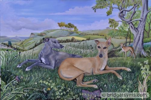 Whippets in landscape