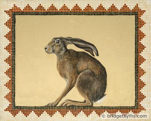 crouching hare on gold leaf mosaic surround