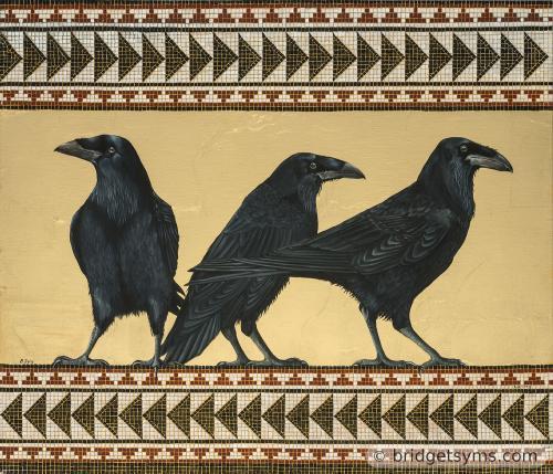 Three ravens on gold leaf with mosaic