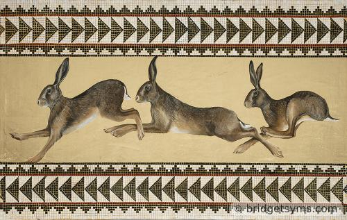 three hares running on gold leaf and mosaic