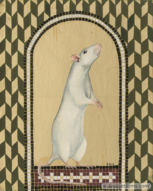 white fancy rat on gold leaf with mosaic