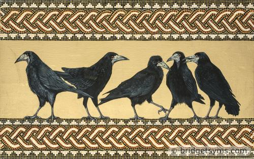five rooks on gold leaf with mosaic