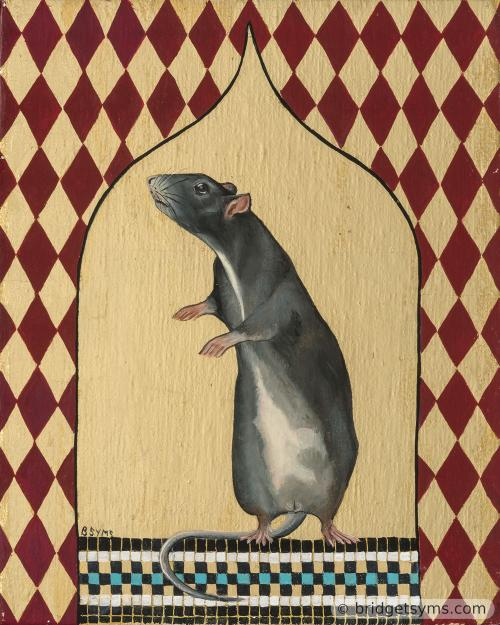 blue fancy rat on gold leaf and mosaic