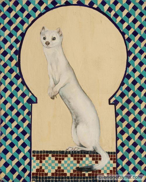 stoat in ermine on gold leaf and mosaic