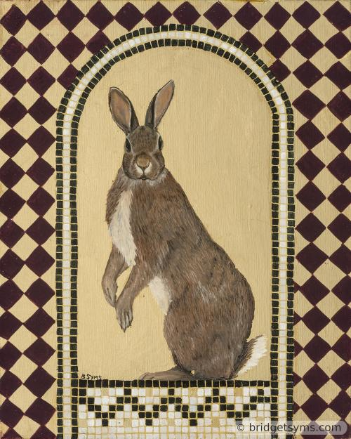 wild rabbit on gold leaf and mosaic