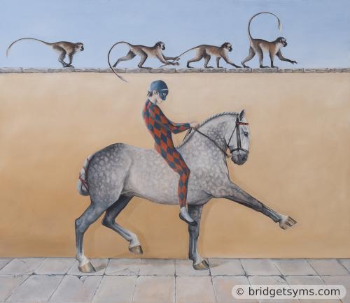Harlequin on grey horse with monkeys
