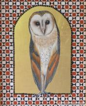 Barn owl on gold ground with tessera