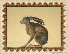 crouching hare on gold leaf mosaic surround