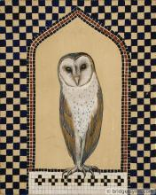 Barn owl on gold ground with mosaic
