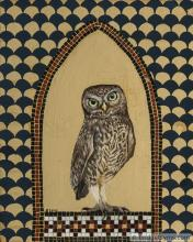 little owl on gold leaf with mosaic