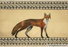 Red fox against gold leaf and mosaic