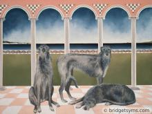 Deer hounds in classic background