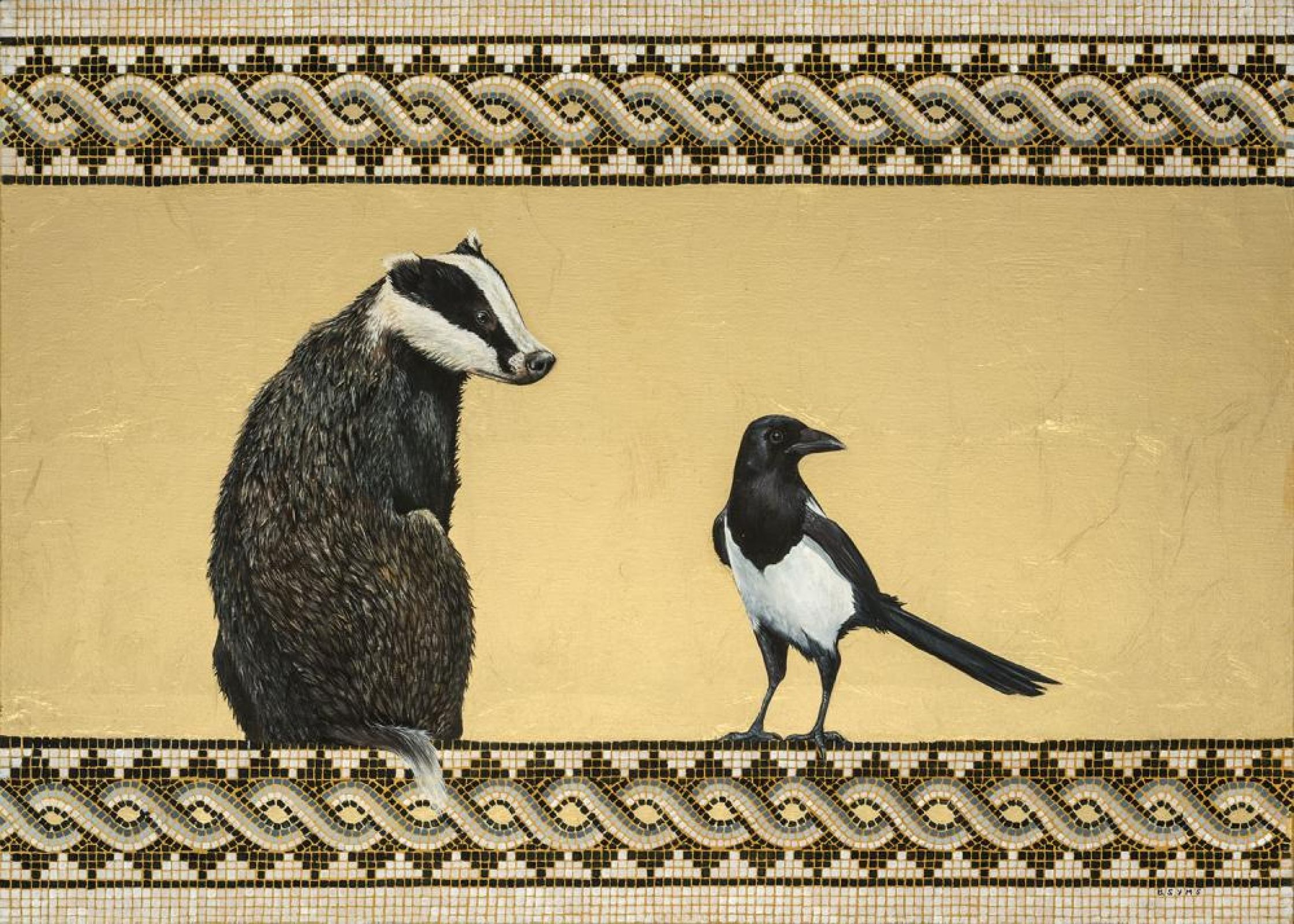 painting of magpie and badger gold leaf and mosaic