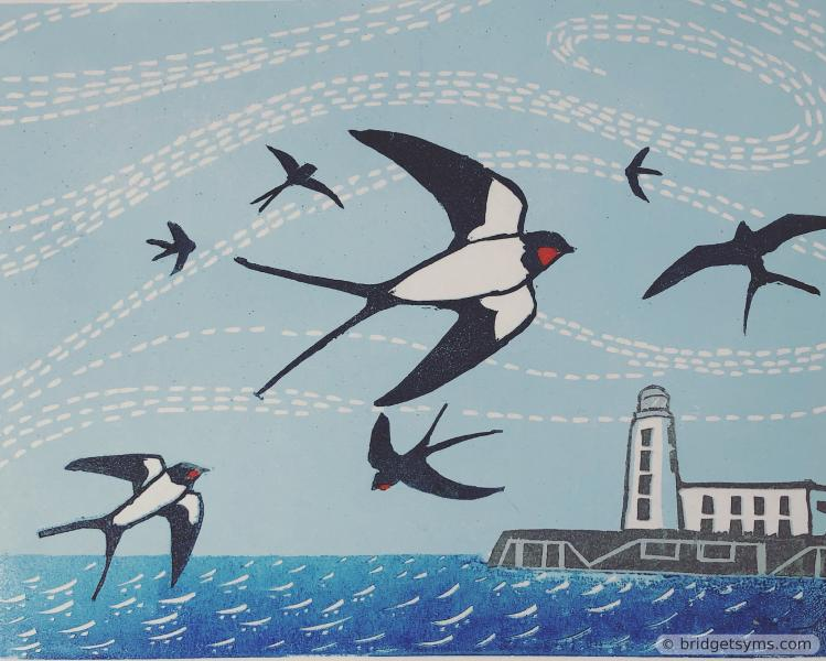 Linocut swallows over the Sea