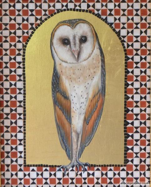 Barn owl on gold ground with tessera