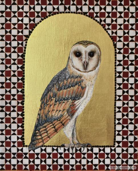 Barn owl on gold ground