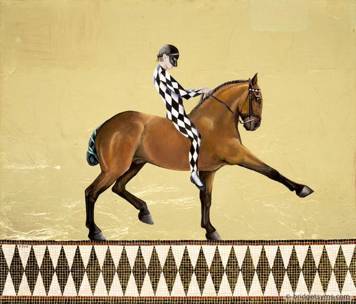 harlequin, horse,gold.
