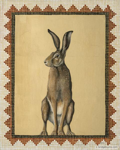 Hare alert on gold leaf and mosaic surround