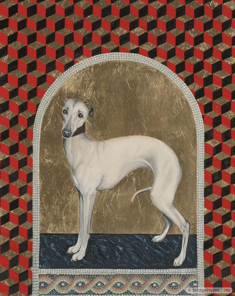 whippet on gold leaf with mosaic
